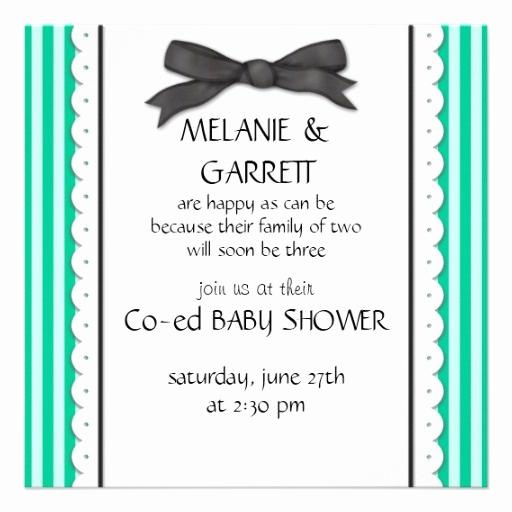 Co Ed Baby Shower Invitation Elegant Ribbon & Stripes Co Ed Baby Shower Invitation