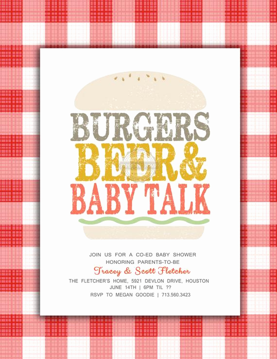 Co Ed Baby Shower Invitation Fresh Burgers and Beer Baby Shower Invitation Co Ed by Paperandpomp