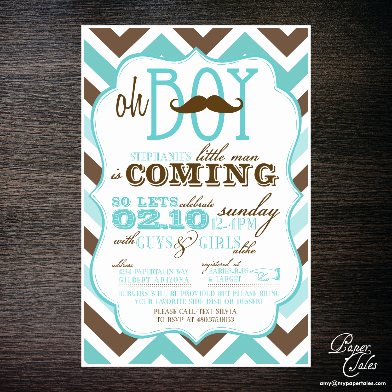 Co Ed Baby Shower Invitation Lovely Mustache Co Ed Baby Shower Invitations by Papertalescustom