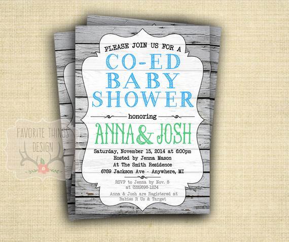 Co Ed Baby Shower Invitation New Co Ed Baby Shower Invitation Coed Baby Shower Invite Green