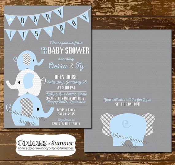 Co Ed Baby Shower Invitation Unique Elephant Baby Shower Invitation Co Ed Baby Shower Invitation