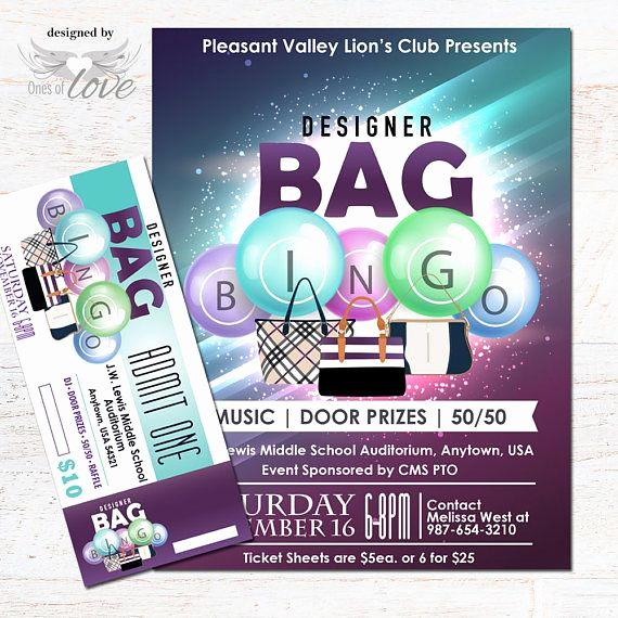 Coach Factory Online Sale Invitation Awesome Designer Bag Bingo Flyer Fundraising event Flyer Bingo