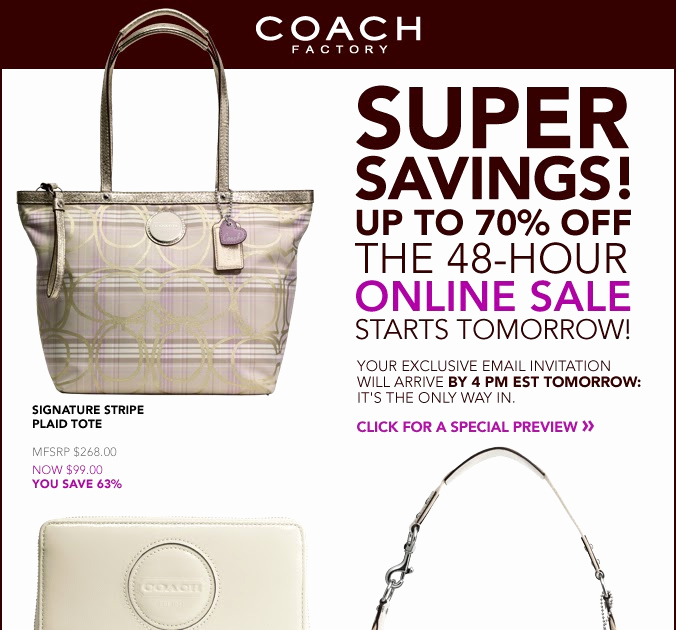Coach Factory Online Sale Invitation Unique Shophubusa 48hr Coach Factory Store Line Sale Starts now