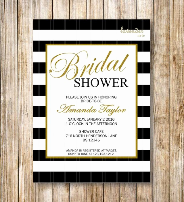 Coco Chanel Invitation Templates Beautiful Black and White Stripes Bridal Shower Invitation Coco