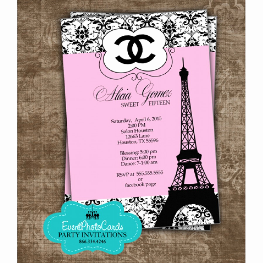 Coco Chanel Invitation Templates Beautiful Paris Chanel Quinceanera Invites Fashion Couture