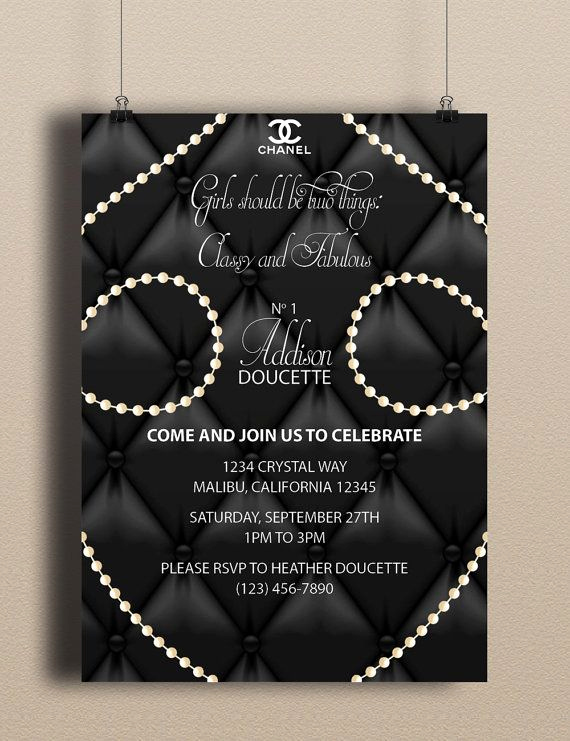 Coco Chanel Invitation Templates Best Of Instant Download Coco Chanel Blank Upholstery Pearls Fancy