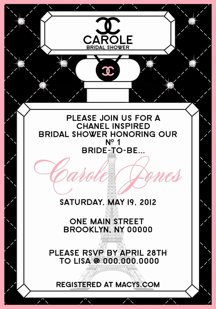 Coco Chanel Invitation Templates Elegant 1000 Images About Chanel themed Party On Pinterest