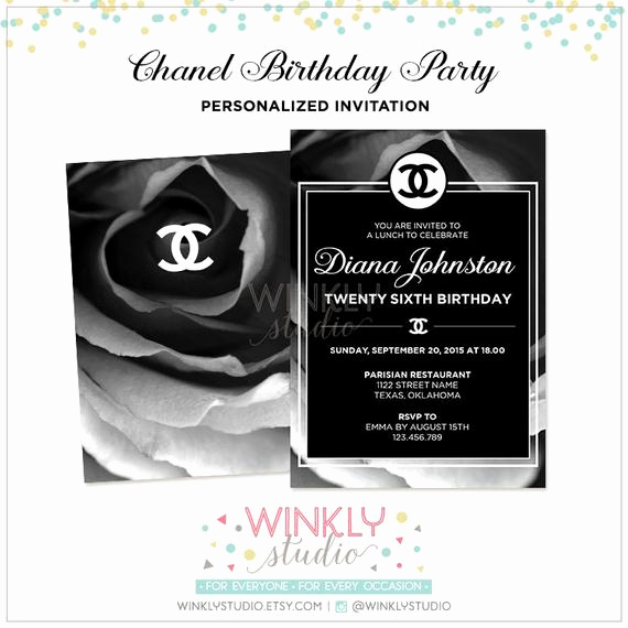 Coco Chanel Invitation Templates Fresh Chanel Invitation Adult Birthday by Winklystudio On Etsy