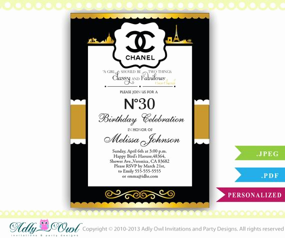 Coco Chanel Invitation Templates Fresh Personalized Chanel Birthday Party Celebration Invite for