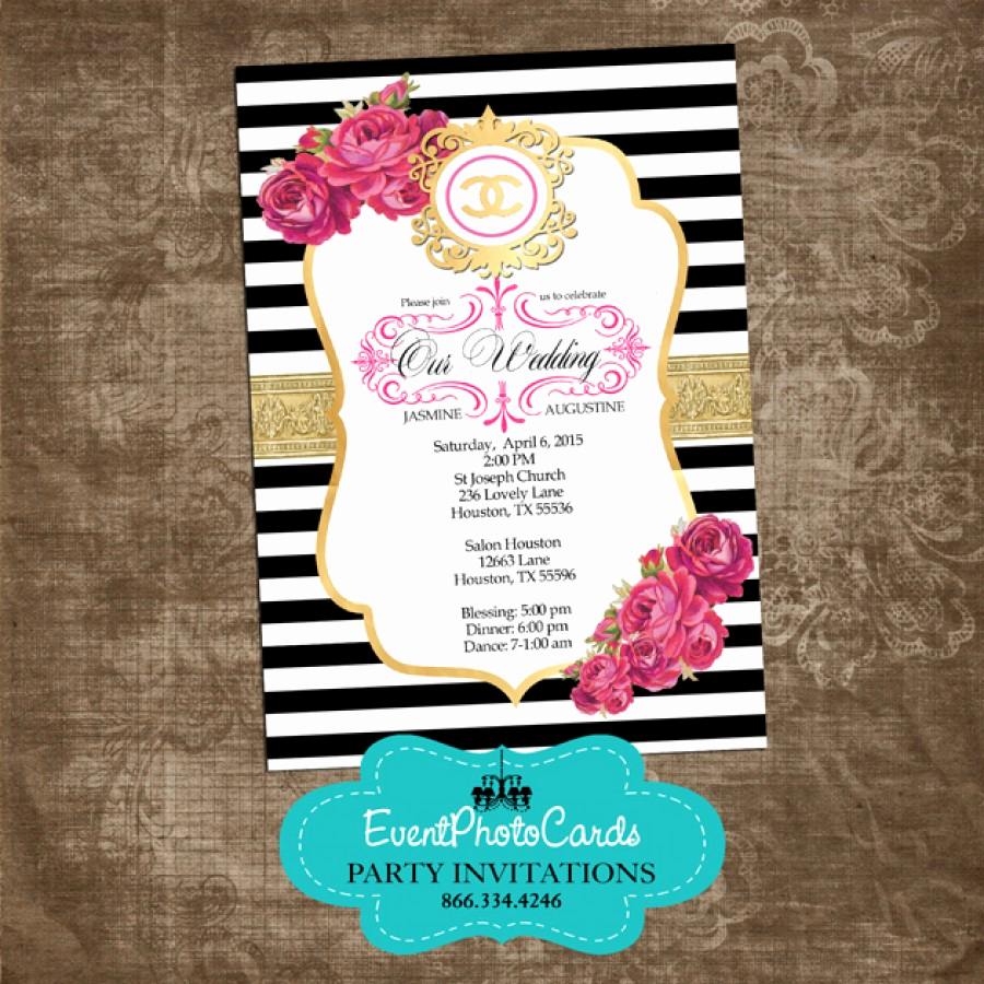 Coco Chanel Invitation Templates Inspirational Coco Chanel Gold Wedding Invitations Fashion Couture