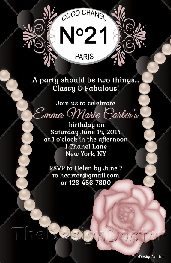 Coco Chanel Invitation Templates Inspirational Custom Hand Drawn Classy and Fabulous Coco Chanel Inspired