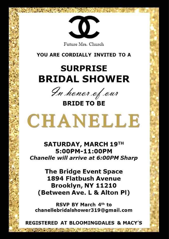 Coco Chanel Invitation Templates Lovely Chanel themed Bridal Shower Invitation