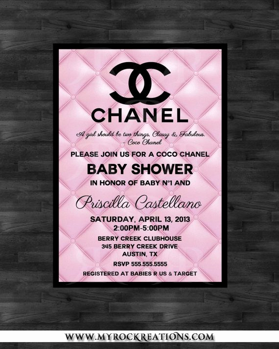 Coco Chanel Invitation Templates Luxury Baby Shower Coco Chanel Pinterest