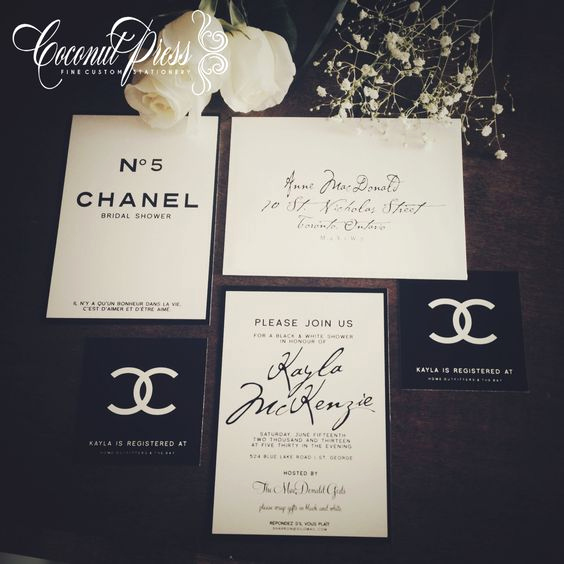 "Coco Chanel Invitation Templates Luxury Classy Black & White ""coco Chanel Inspired Bridal Shower"