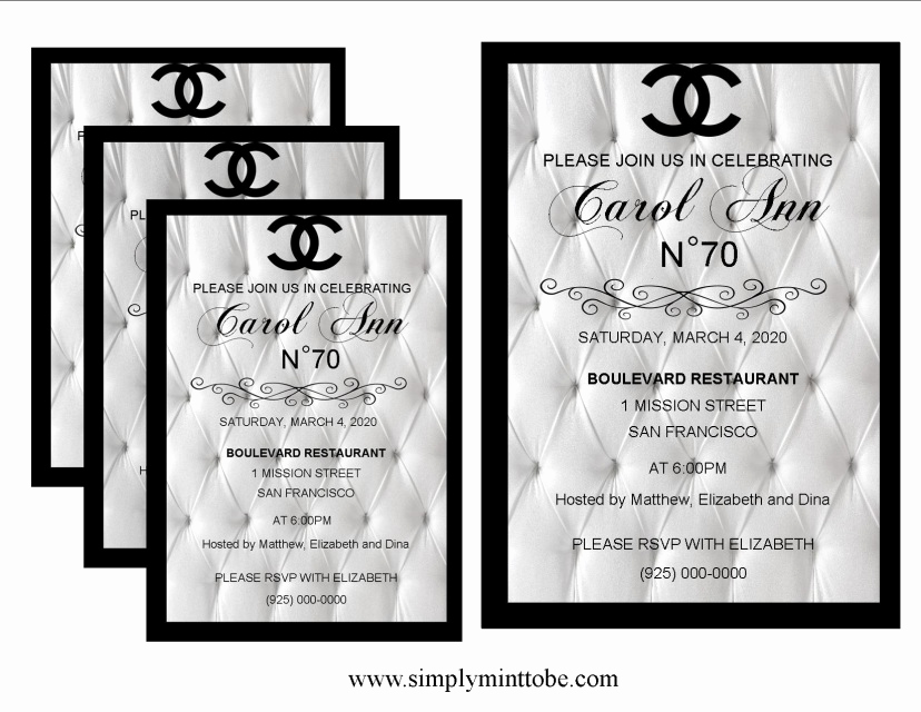 Coco Chanel Invitation Templates Luxury Coco Chanel Inspired White Leather Graphic