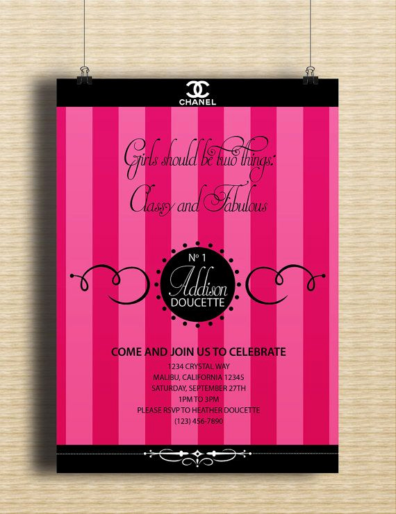 Coco Chanel Invitation Templates New 1000 Images About Chanel themed Party On Pinterest