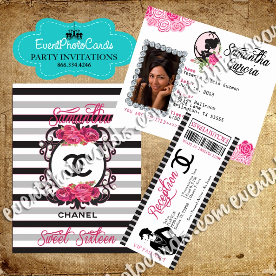 Coco Chanel Invitation Templates New Coco Chanel Lover Passport Invite with Ticket Reception Pass