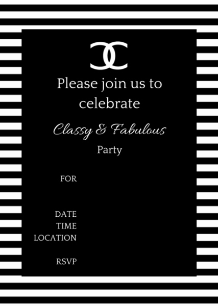 Coco Chanel Invitation Templates New Free Printable Coco Chanel Party Invitations
