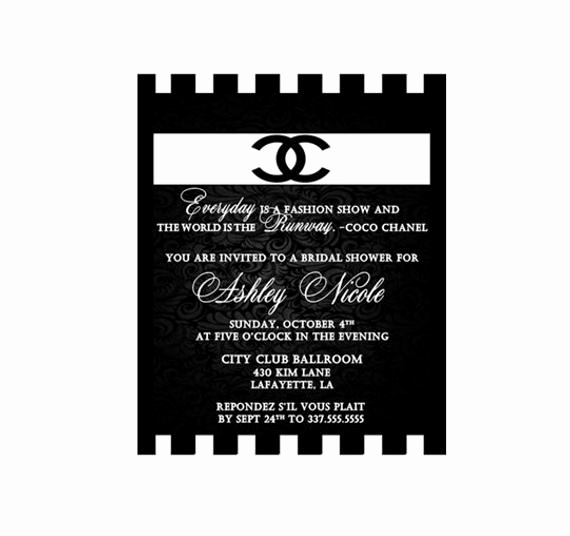 Coco Chanel Invitation Templates New Unavailable Listing On Etsy