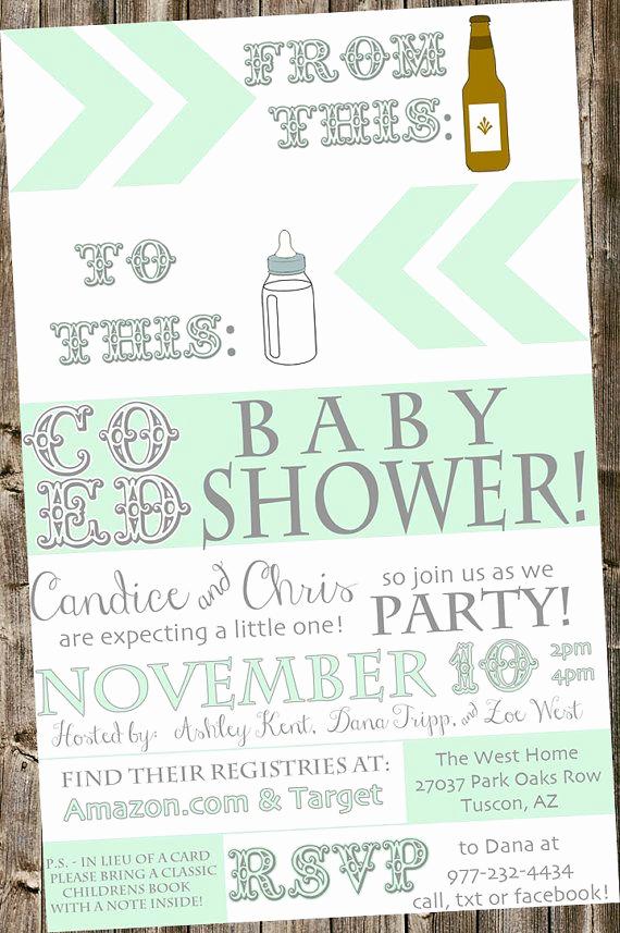 Coed Baby Shower Invitation Ideas Beautiful Baby Shower Invitation From Beer Bottle to Baby Bottle