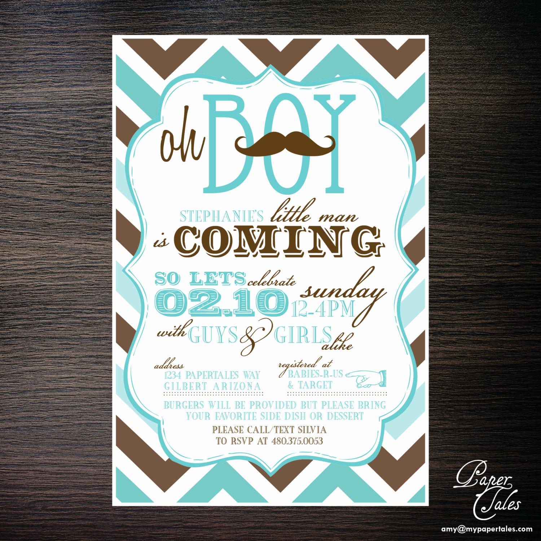 Coed Baby Shower Invitation Ideas Elegant Mustache Co Ed Baby Shower Invitations by Papertalescustom