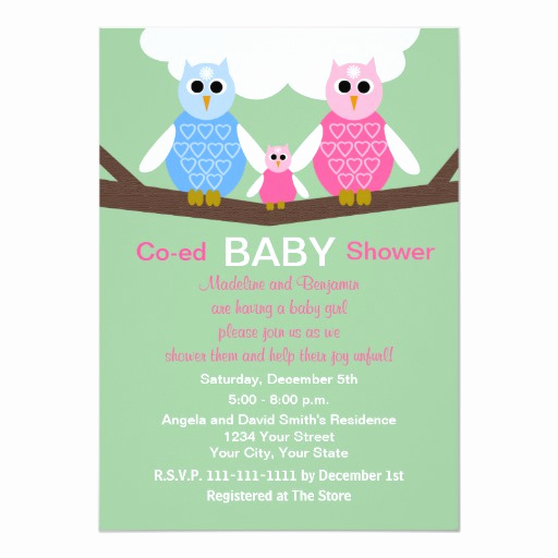 Coed Baby Shower Invitation Ideas Inspirational Couples Coed Girl Baby Shower Invitation Owls