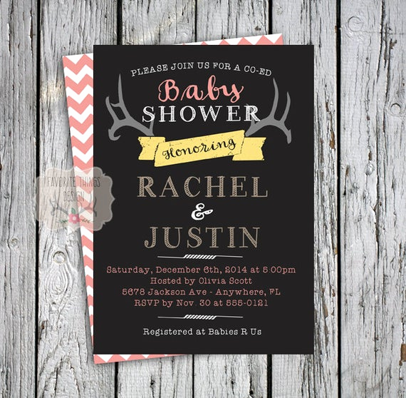 Coed Baby Shower Invitation Templates Beautiful Items Similar to Co Ed Baby Shower Invitation Coed Baby