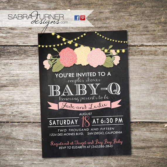 Coed Baby Shower Invitation Templates Elegant Chalkboard Baby Q Baby Shower Invitation Floral Baby Shower