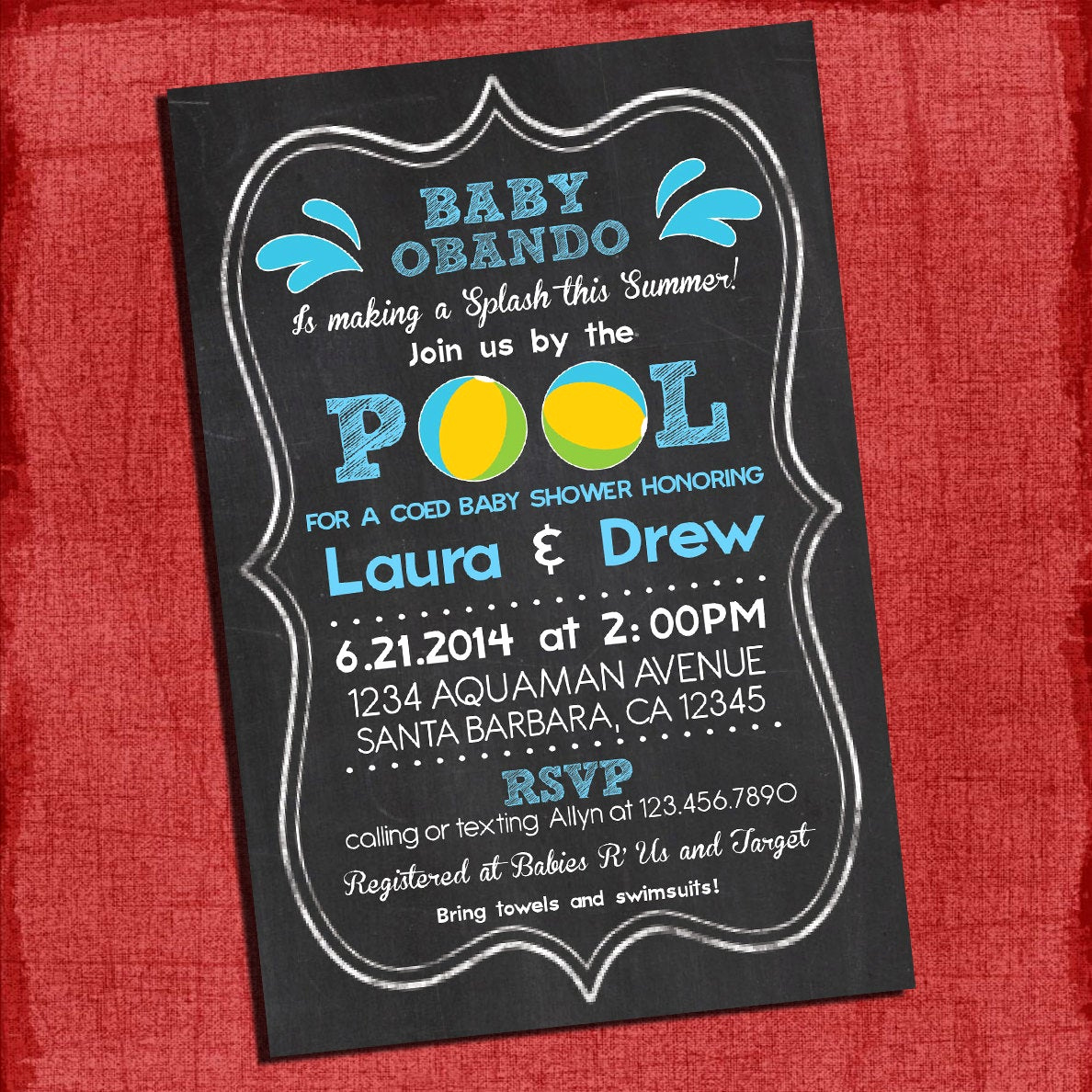 Coed Baby Shower Invitation Templates Elegant Printable Pool Party Coed Baby Shower Chalkboard Style 4x6 or