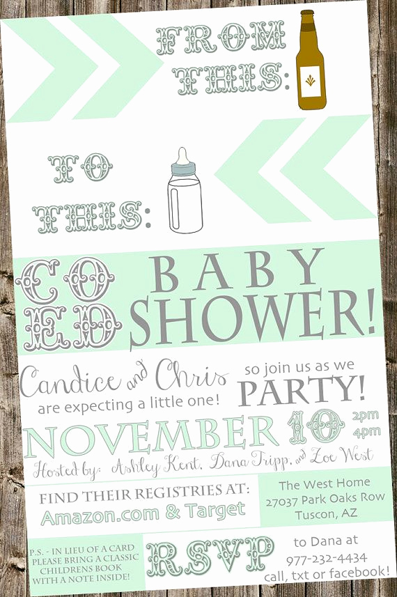 Coed Baby Shower Invitation Templates Lovely Baby Shower Invitation From Beer Bottle to Baby Bottle