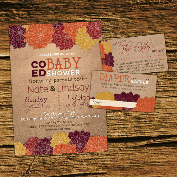 Coed Baby Shower Invitation Templates Lovely Fall Baby Shower Invitation Kit Co Ed Couples Shower Gender