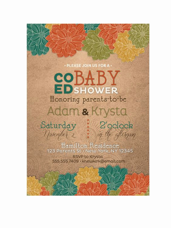 Coed Baby Shower Invitation Templates New Fall Baby Shower Invitation Gender Neutral Co Ed Coed