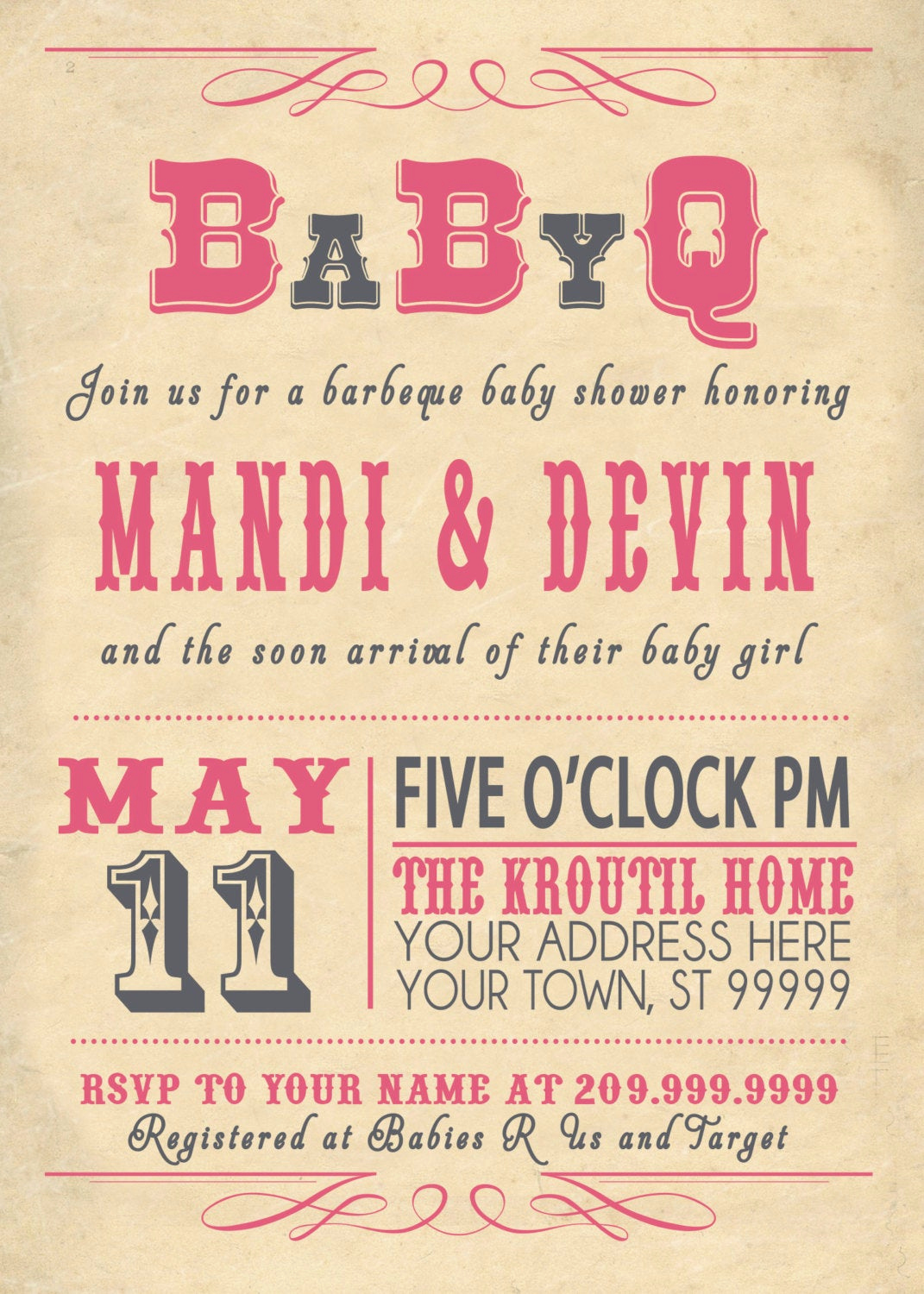 Coed Baby Shower Invitation Templates Unique Babyq Bbq Baby Shower Invitation Vintage Couples