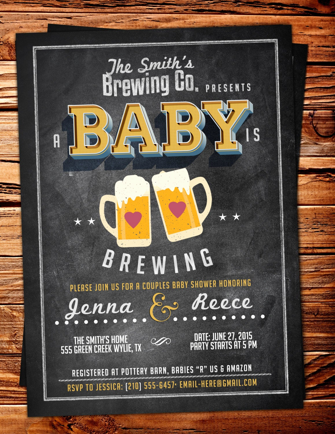 Coed Baby Shower Invitation Wording Awesome Baby is Brewing Coed Baby Shower Invitation Beer Baby Shower