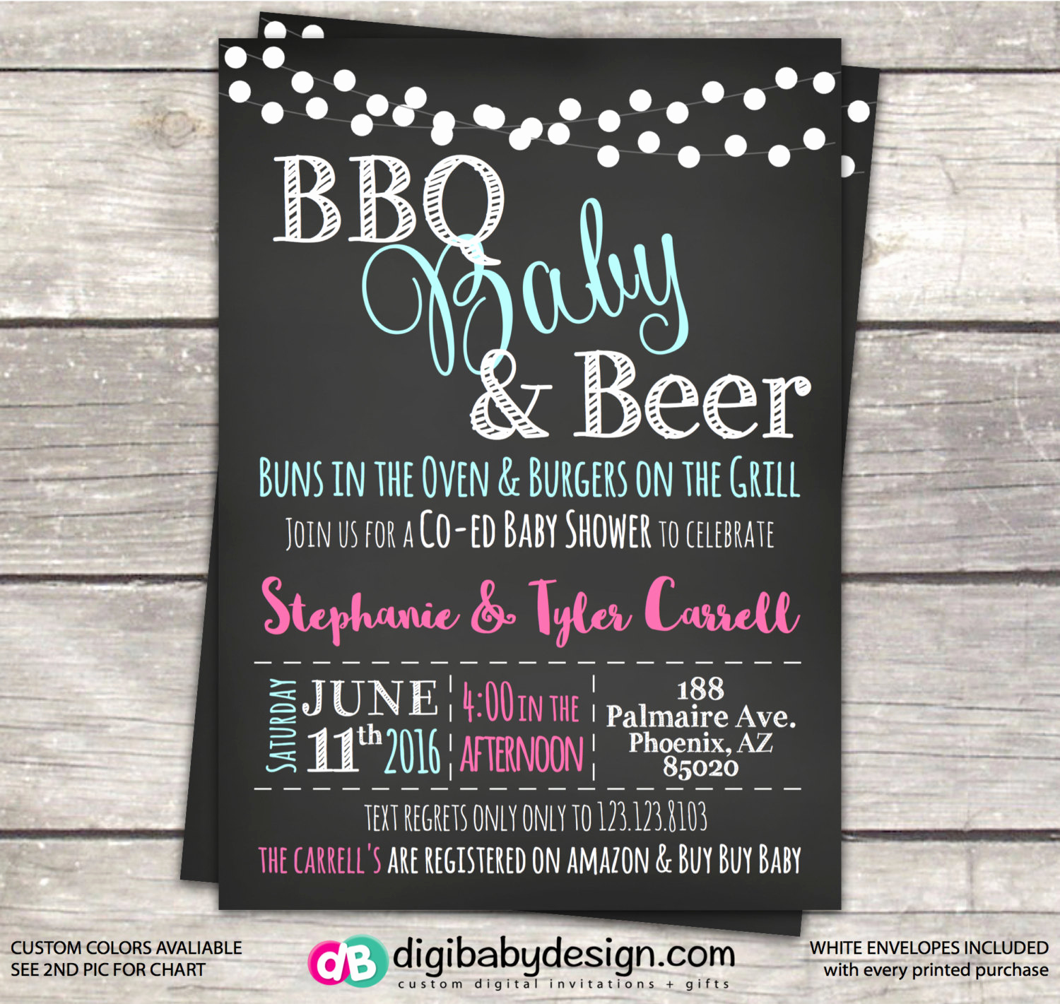 Coed Baby Shower Invitation Wording Inspirational Baby Shower Invitation Co Ed Bbq Baby Shower Chalkboard