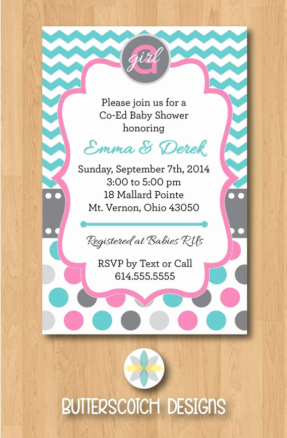 Coed Baby Shower Invitation Wording Inspirational Co Ed Baby Girl Chevron Polka Dot Shower Invitation