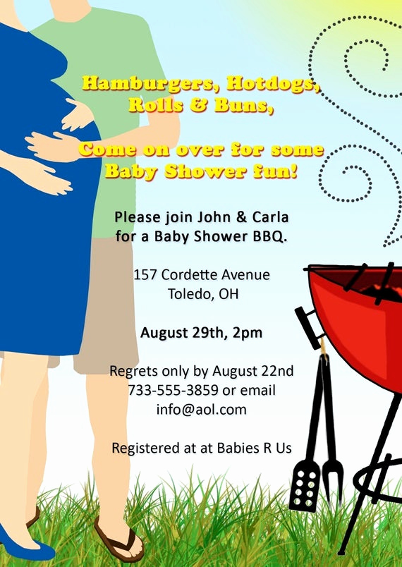 Coed Baby Shower Invitation Wording New Items Similar to Co Ed Bbq Baby Shower Invitation On Etsy