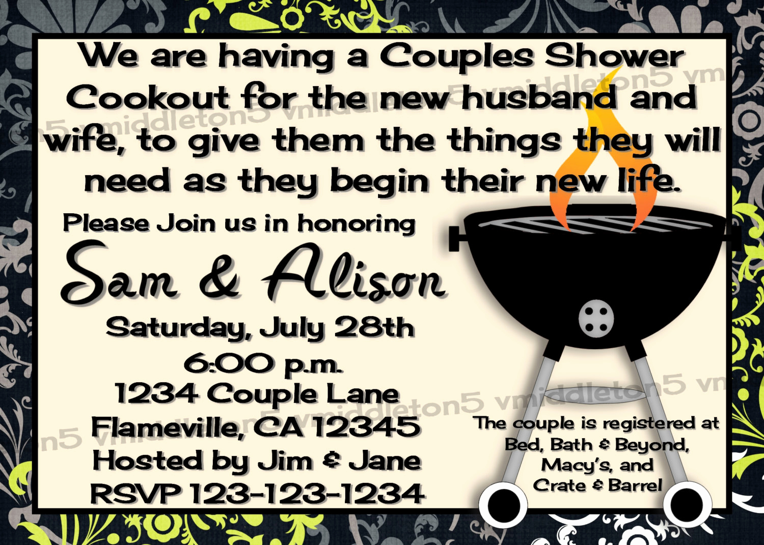 Coed Shower Invitation Wording Awesome Couples Coed Wedding Shower Invitation Bbq Cookout Color