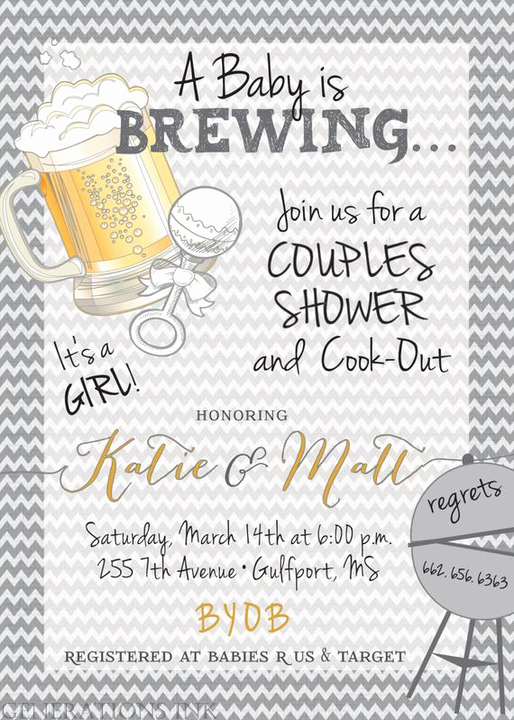 Coed Shower Invitation Wording Inspirational Couples Baby Shower Invitationbaby is Brewing by
