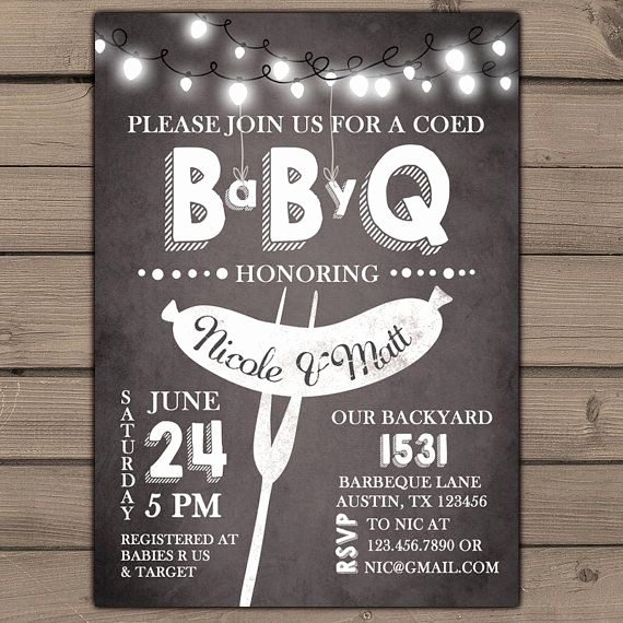 Coed Shower Invitation Wording Lovely Baby Q Invitation Coed Baby Shower Invite Bbq Invitation