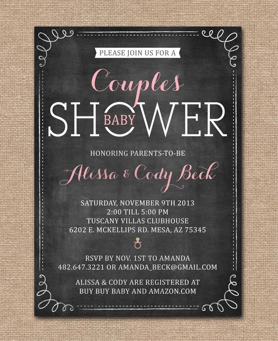 Coed Shower Invitation Wording New Couples Baby Shower Invitation Coed Shower Chalkboard