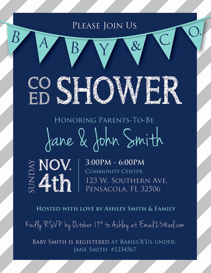 Coed Shower Invitation Wording Unique Co Ed Baby Shower Flags and Stripes Invitation Navy