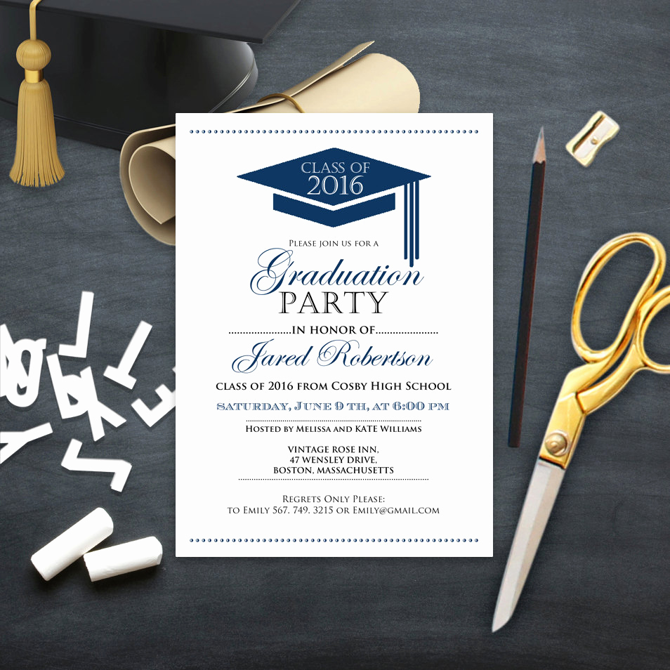 College Grad Party Invitation Awesome Graduation Announcement Boy Printable Template Navy High
