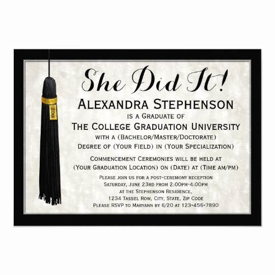 College Grad Party Invitation Awesome She Did It Tassel College Graduation Card