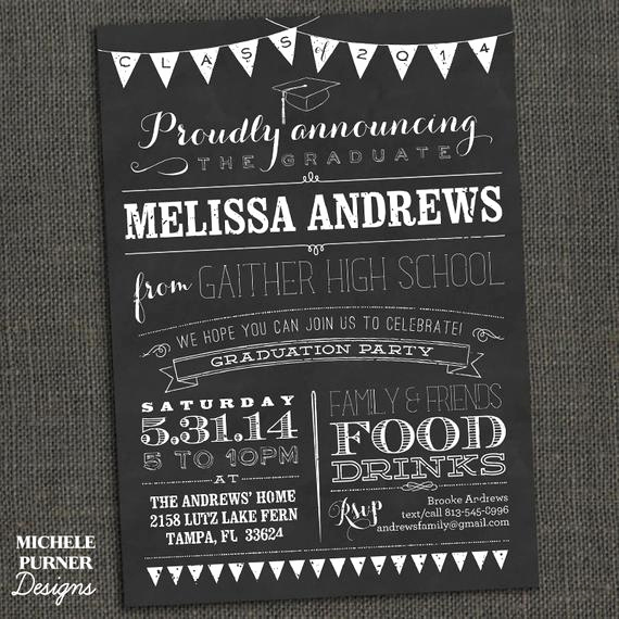 College Grad Party Invitation Fresh Items Similar to Chalkboard High School or College
