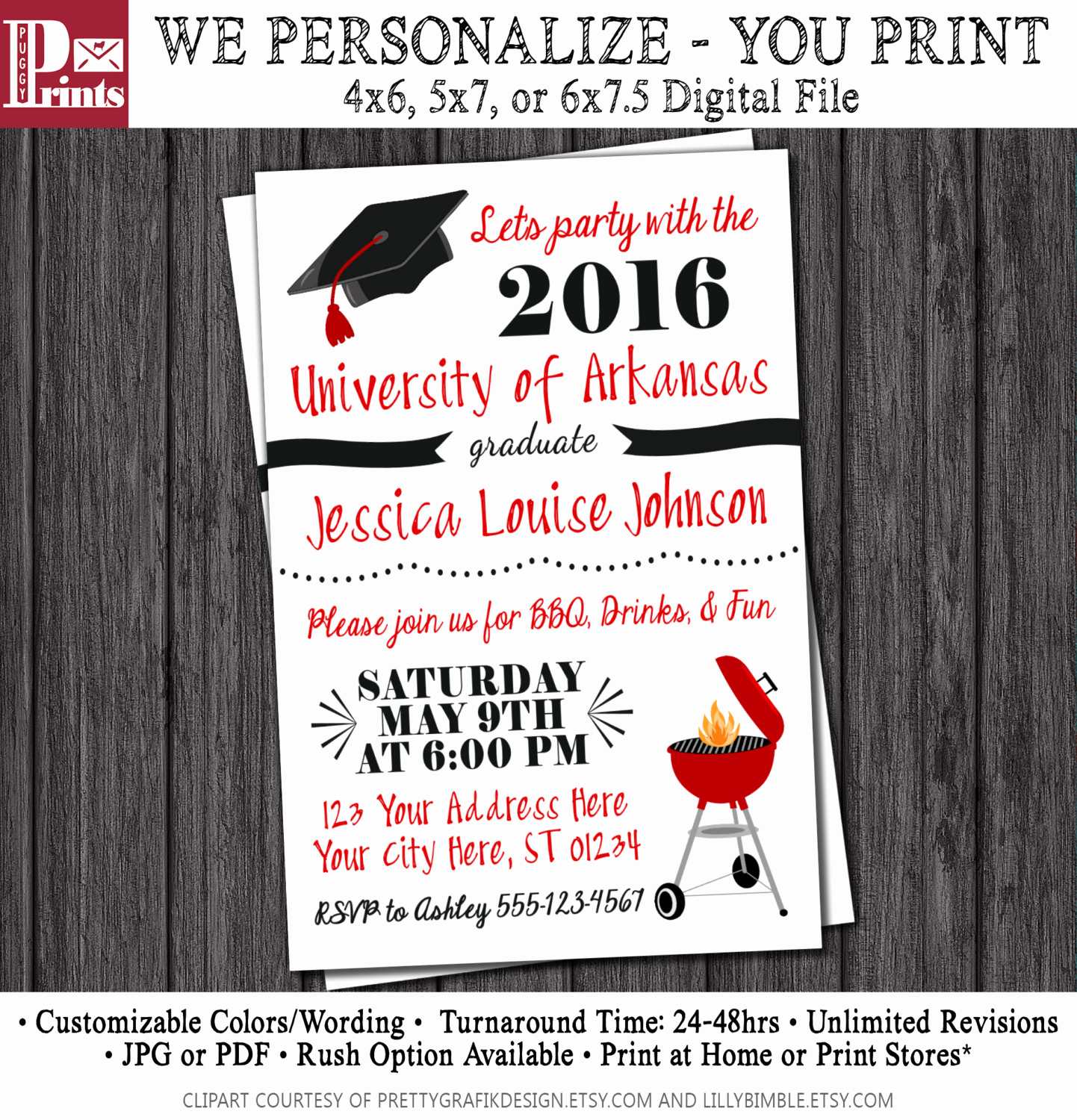 College Grad Party Invitation Lovely Bbq Graduation Party Invitation Any University or College