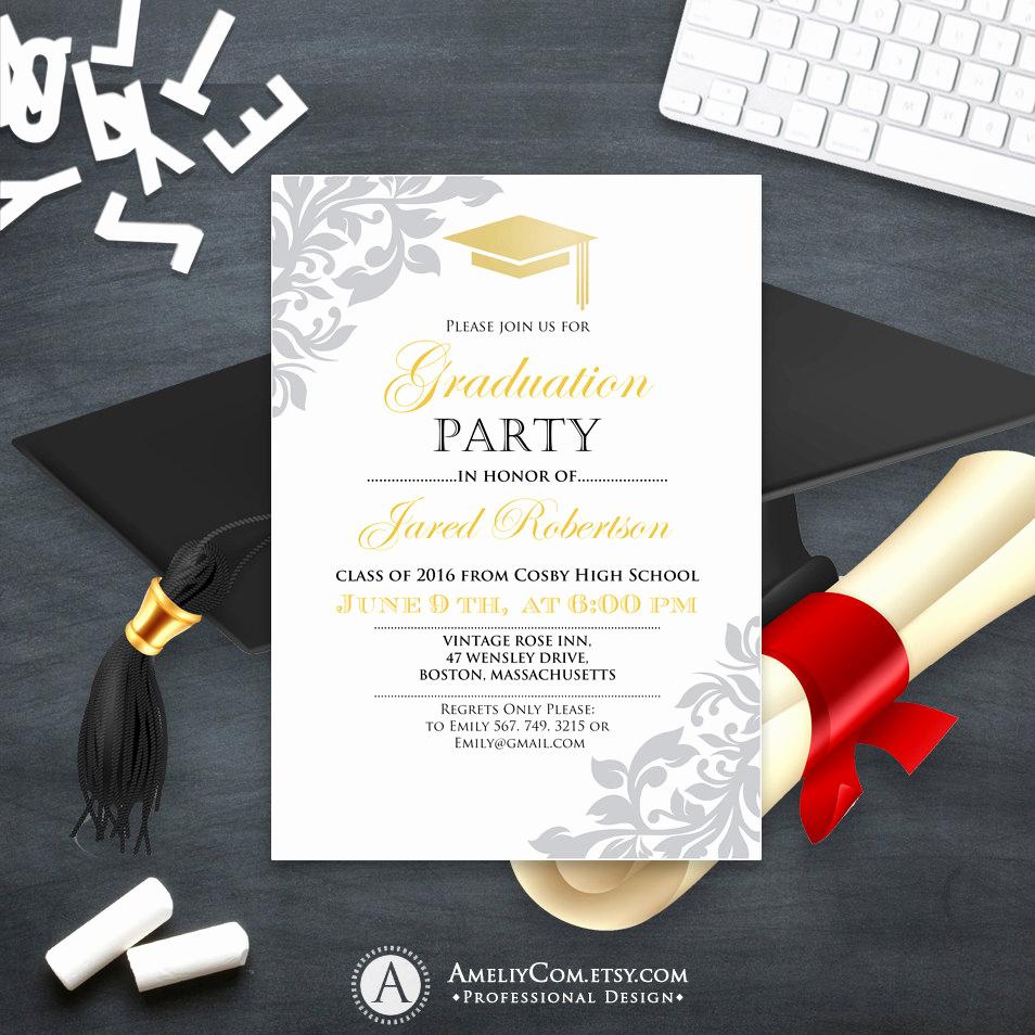 College Grad Party Invitation Unique Graduation Invitation Printable Gold College Graduation Party
