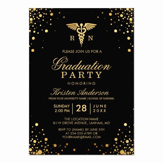 College Graduation Invitation Cards Unique Black Gold Medical Nursing School Graduation Party Card