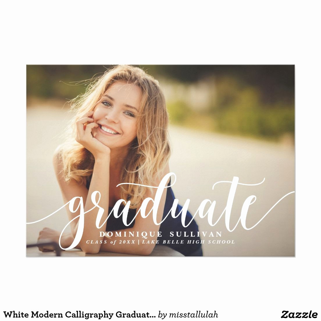 College Graduation Invitation Ideas Awesome White Modern Calligraphy Graduation Announcement
