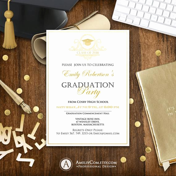 College Graduation Invitation Templates Awesome Graduation Announcement Printable Gold College Graduation